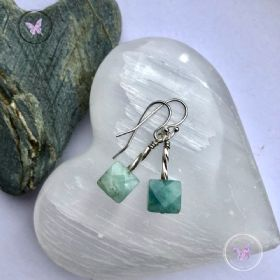 Aquamarine Square Silver Earrings